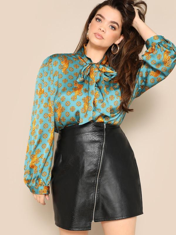 Plus Size Tie Neck Tiger Print Satin Top