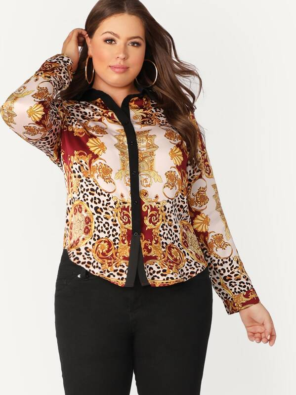 Plus Size Contrast Placket Scarf Print Shirt