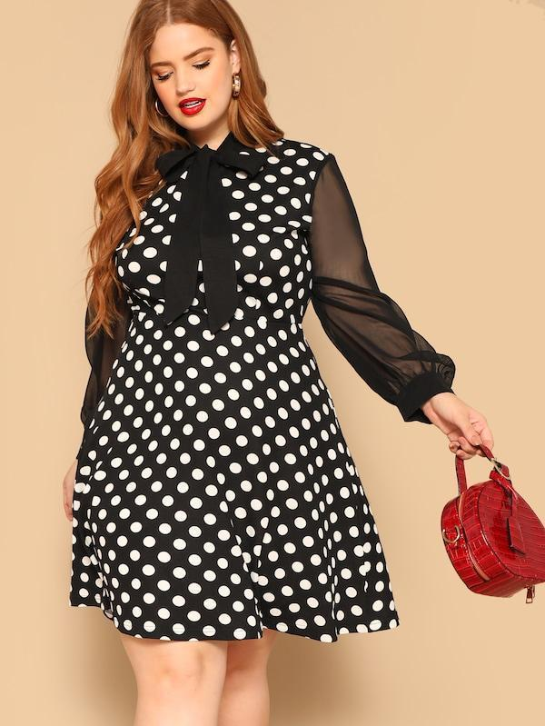 Plus Size Tie Neck Sheer Sleeve Polka Dot Dress