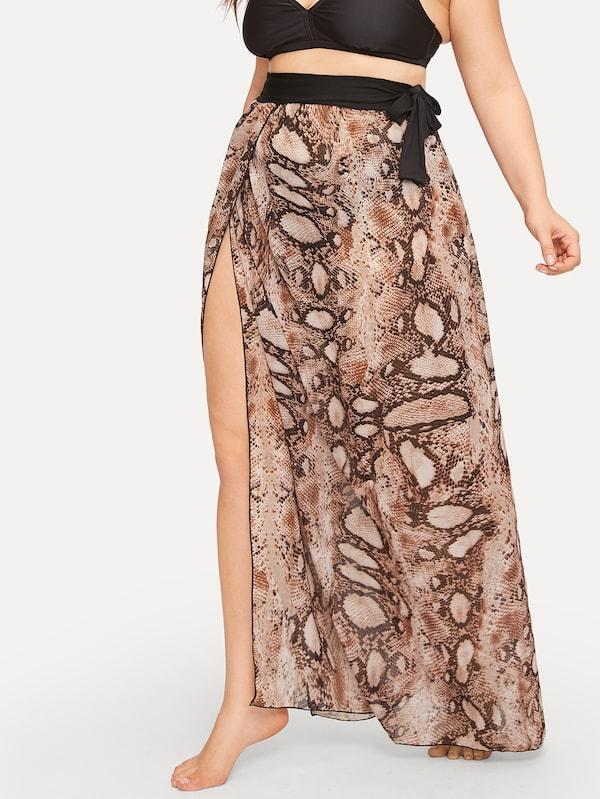 Plus Size Snakeskin Print Split Side Beach Maxi Skirt