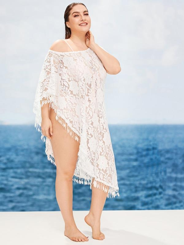Plus Size Floral Lace Asymmetrical Tassel Hem Cover Up