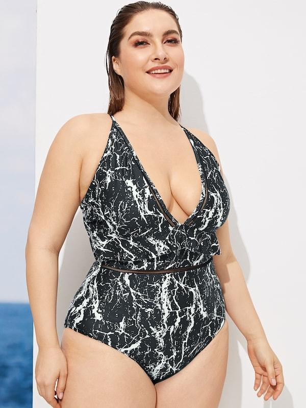 Plus Size Marble Print Knot Back One Piece Swimsuit