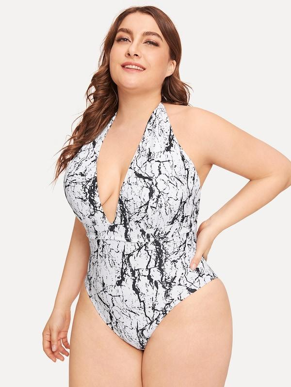 Plus Size Marble Print Deep-V One Piece Swimsuit
