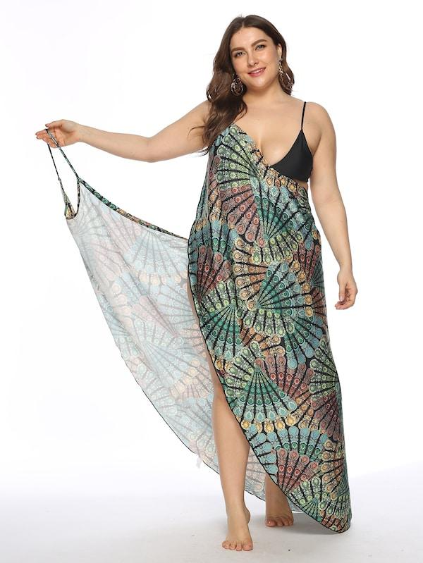 Plus Size Peacock Feather Print Asymmetrical Cover Up