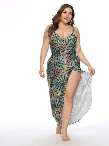 ... Plus Size Peacock Feather Print Asymmetrical Cover Up 5c1503446