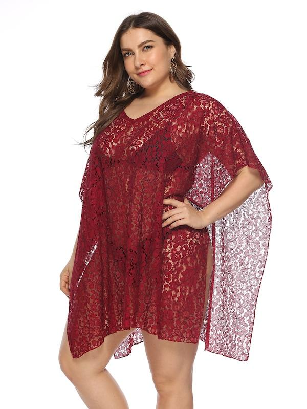 Plus Size Floral Lace Cover Up