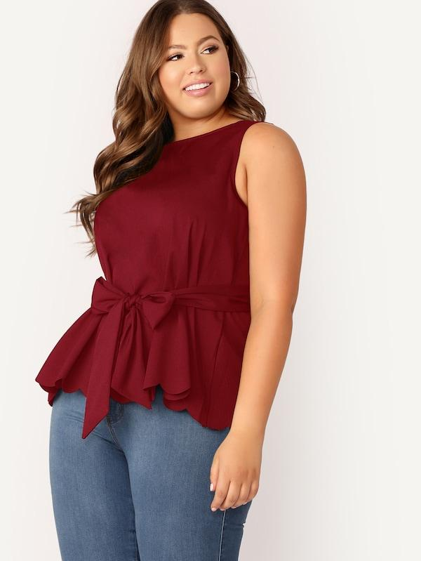 Scalloped Hem Sleeveless Belted Top