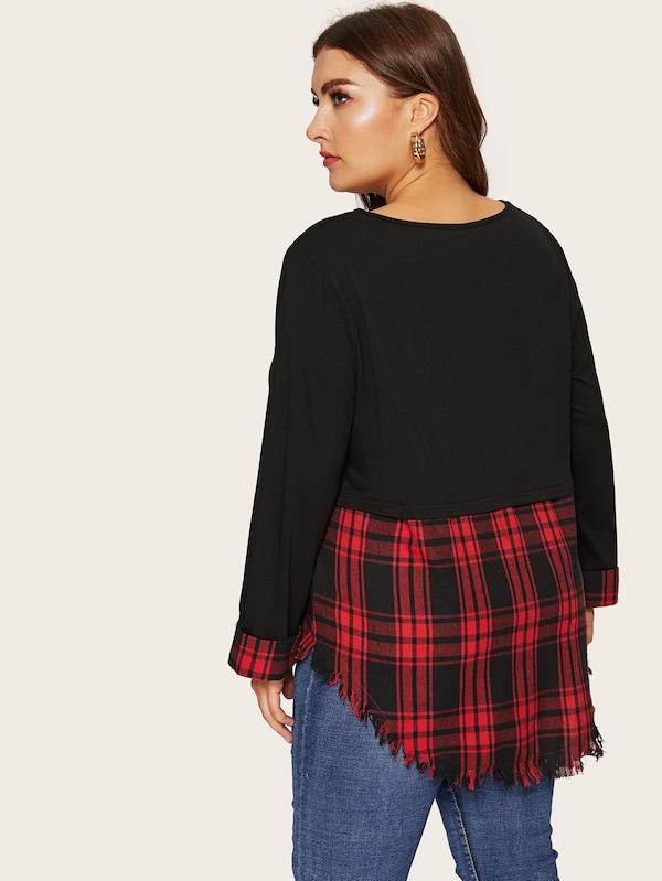 Plus Size Contrast Plaid Curved Raw Hem Top