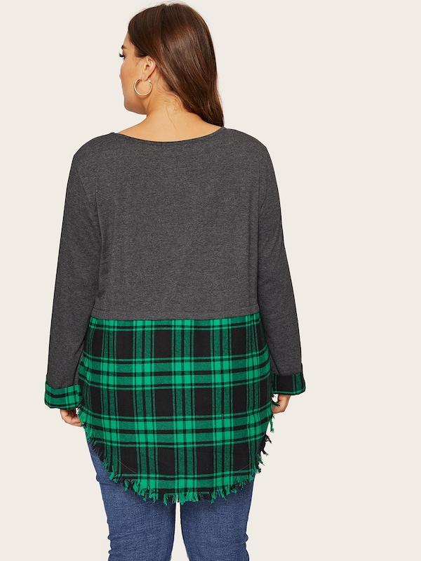 Plus Size Layered Plaid Curved Raw Hem Top