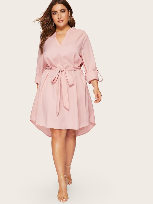 Plus Size V-Cut Neck Rolled Tab Sleeve Dip Hem Dress