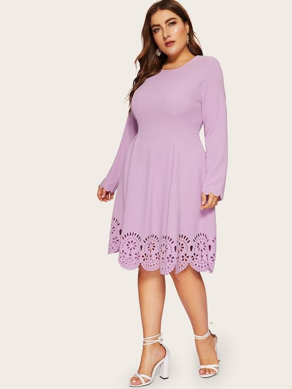 Plus Size Scallop Edge Laser Cut Solid Dress