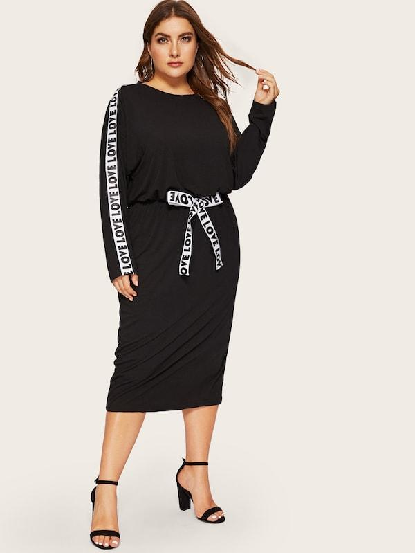 Plus Size Lettering Tape Side Bow Front Dress