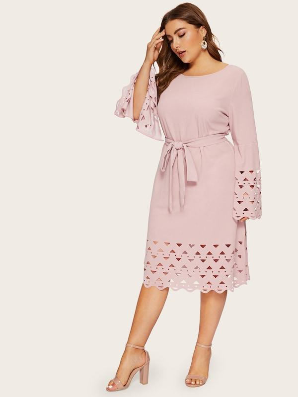 Plus Size Split Bell Sleeve Laser Cut Belted Dress