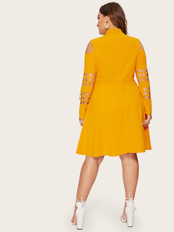 Plus Size Cut Out Mock-Neck Fit & Flare Dress