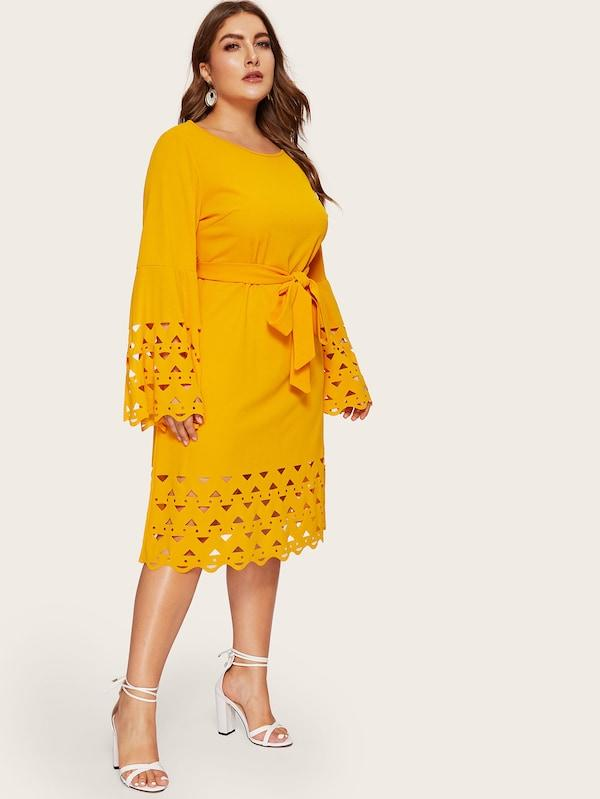 Plus Size Bell Sleeve Laser Cut Scalloped Belted Dress
