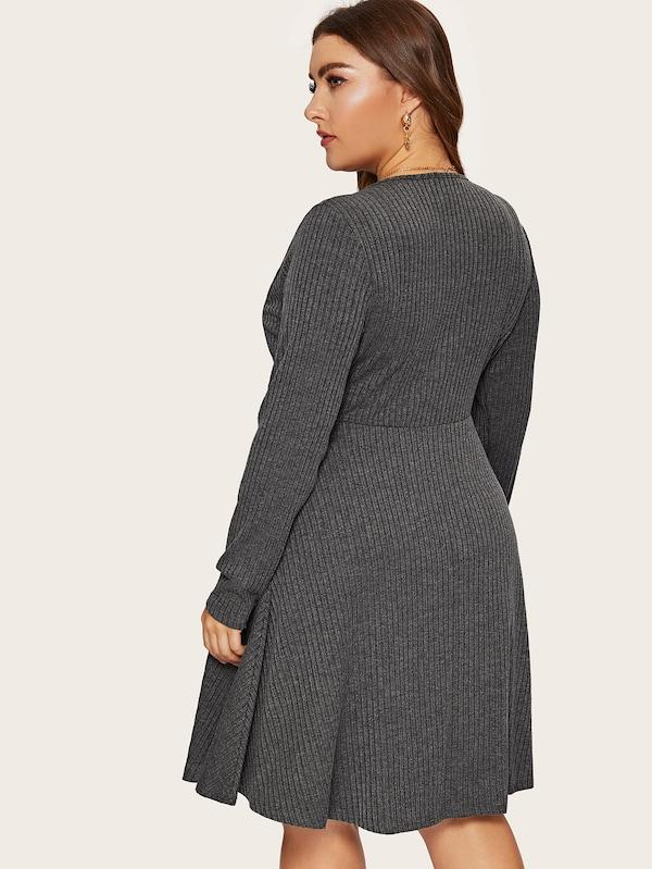 Plus Size Plunging Neck Rib-Knit Dress