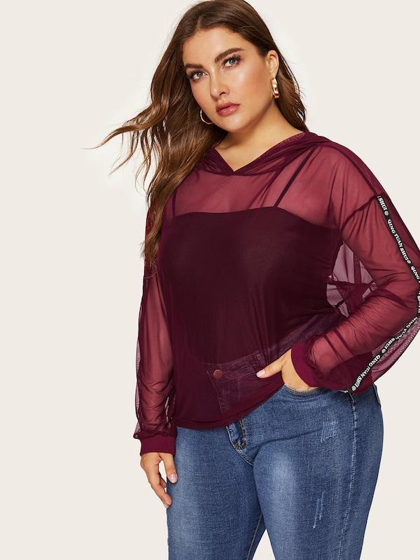 Plus Size Drop Shoulder Letter Tape Side Mesh Hoodie