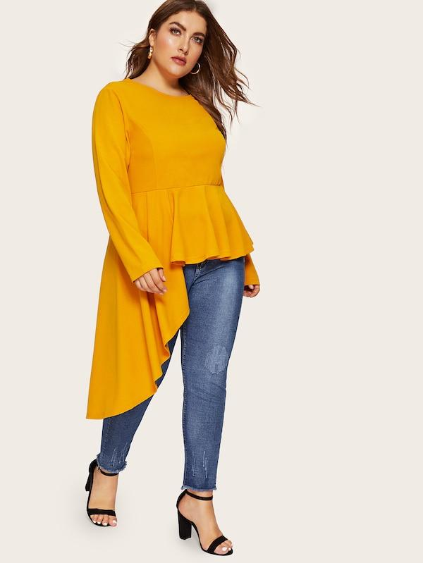 Plus Size Keyhole Back Asymmetrical Ruffle Hem Top