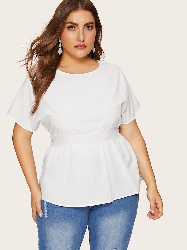 Plus Size Knot Back High Low Hem Blouse