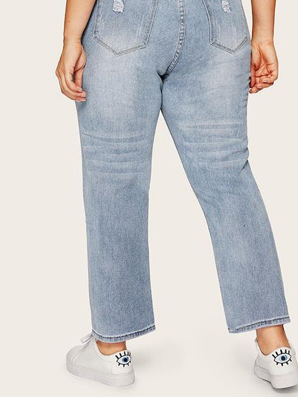 Plus Size Dual Pocket Back Ripped Jeans