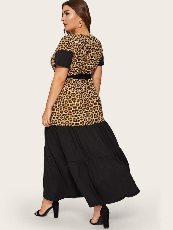 Plus Size Leopard Print Panel Ruffle Hem Dress
