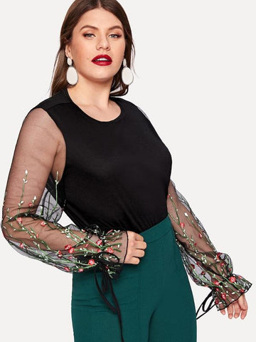 ... Plus Size Contrast Mesh Sleeve Floral Embroidered Blouse ... f5c950139