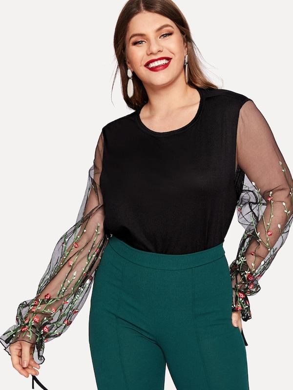Plus Size Contrast Mesh Sleeve Floral Embroidered Blouse