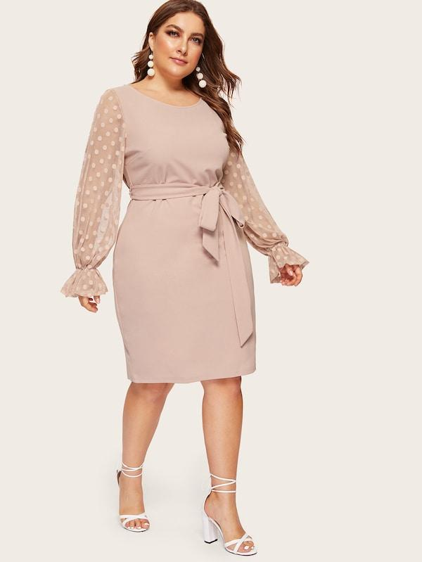 Plus Size Dot Mesh Bell Sleeve Belted Pencil Dress
