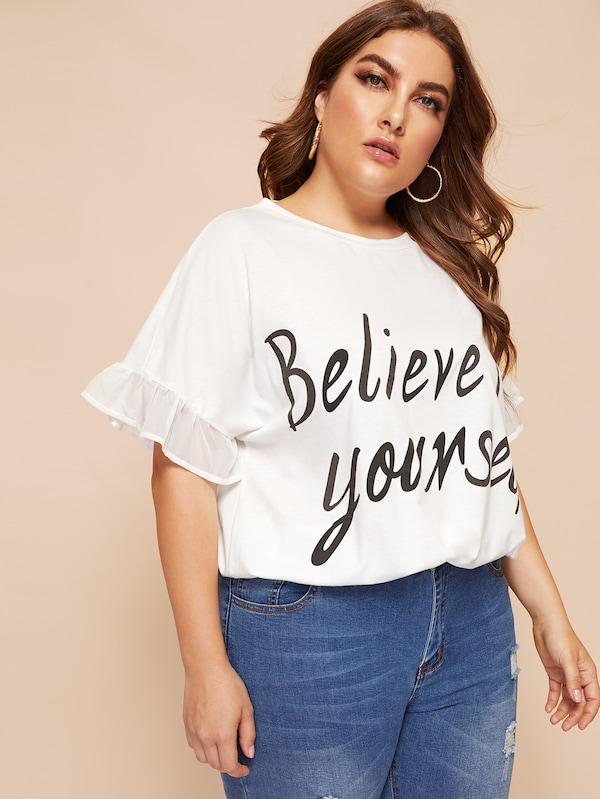 Plus Size Slogan Print Flounce Cuff Top