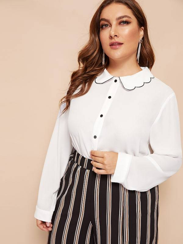 Plus Size Scallop Collar Button Up Blouse