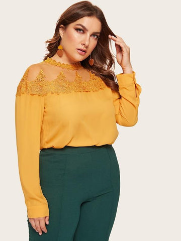 Plus Size Embroidered Applique Sheer Yoke Top