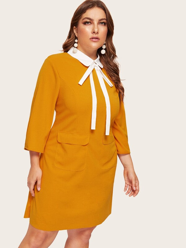 Plus Size Contrast Tie Neck Pocket Patched Dress