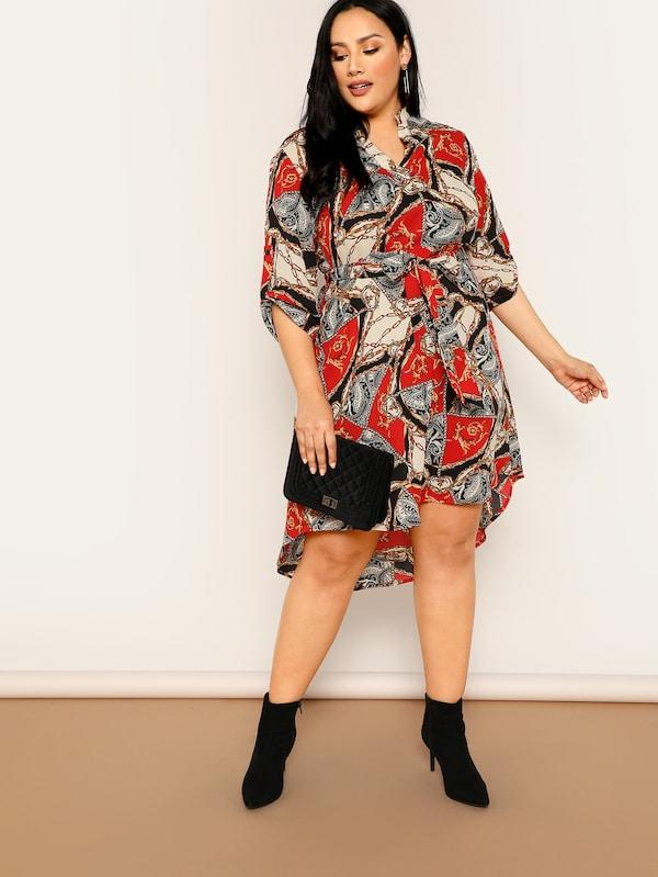 Plus Size Roll Up Sleeve Scarf Print Belted Asymmetric Dress