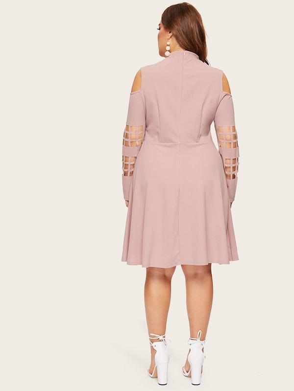 Plus Size Mock-Neck Open Shoulder Geo Cutout Dress