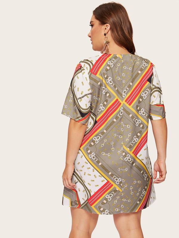 Plus Size Scarf Print Dress