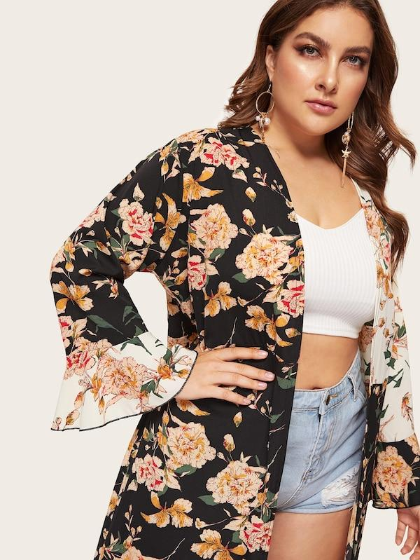 Plus Size Floral Print Flounce Sleeve Cardigan