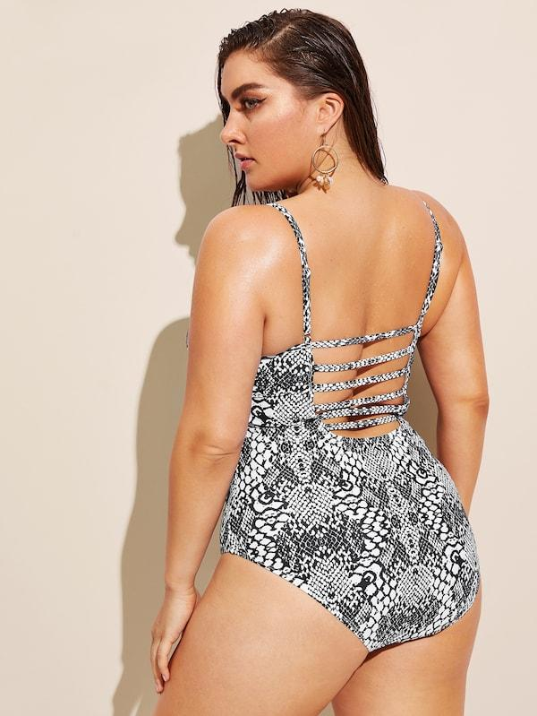 Plus Size Snakeskin Ladder Cut-Out One Piece Swimsuit