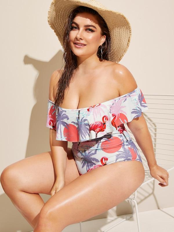 Plus Size Random Tropical Flounce Bardot One Piece Swim