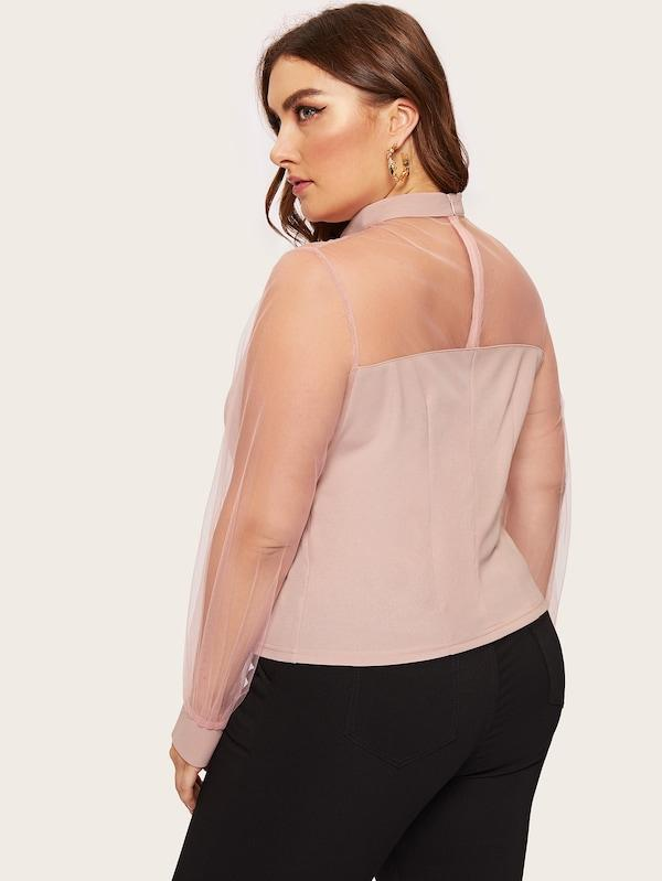 Plus Size Mesh Yoke & Lantern Sleeve Top