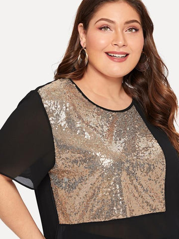Plus Size Contrast Sequin Sheer Blouse