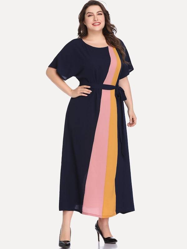 Plus Size Cut And Sew Belted Dress
