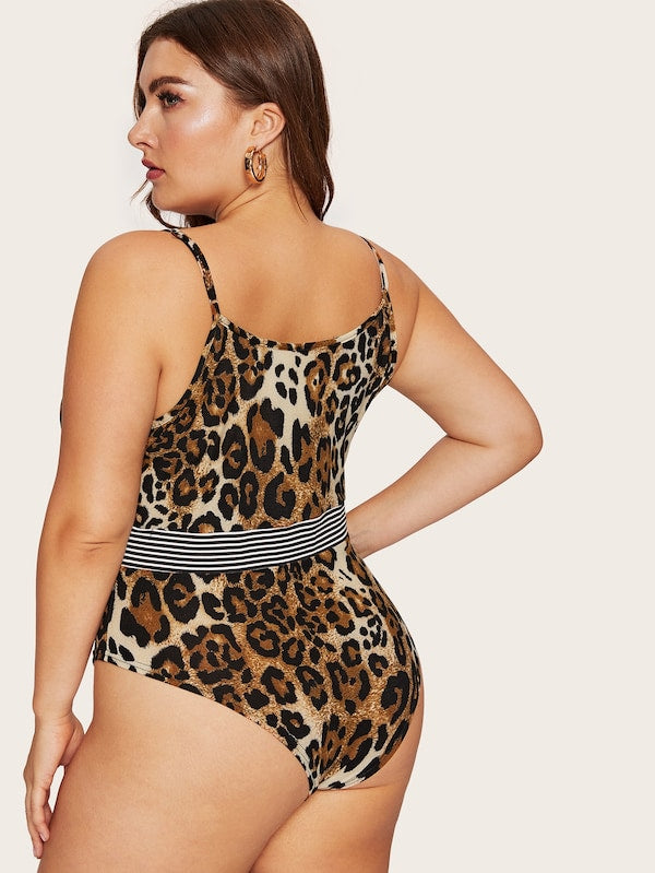 Plus Size Leopard Print Striped Bodysuit