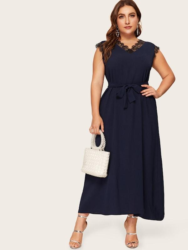 Plus Size Contrast Lace Self Tie Dress