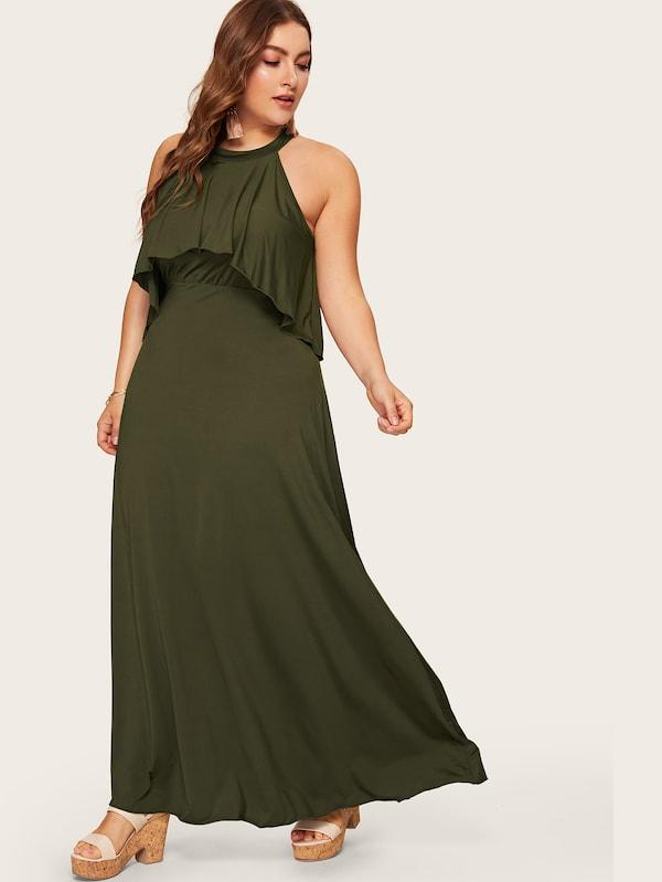 Plus Size Button Keyhole Back Ruffle Maxi Dress