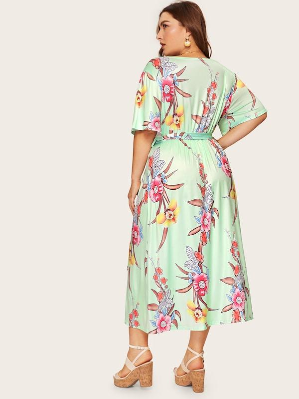 Plus Size Floral Print Wrap Tie Side Dress
