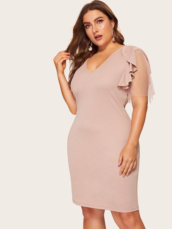 Plus Size Contrast Mesh Ruffle Dress