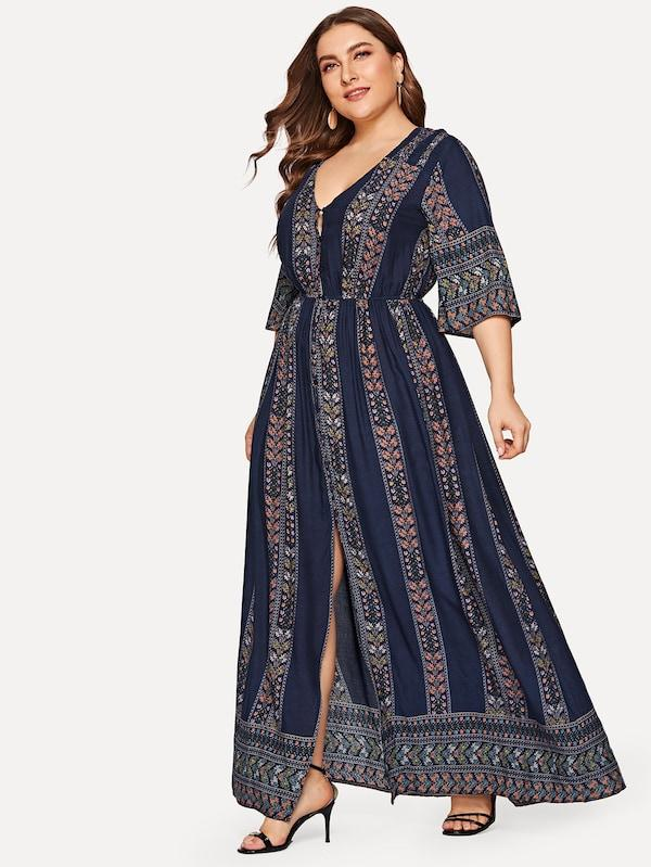 Plus Size Button Front Tribal Print Split Dress