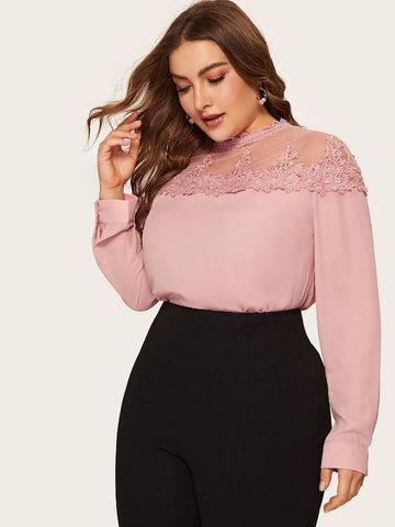 Plus Size Mesh Yoke Guipure Lace Insert Blouse
