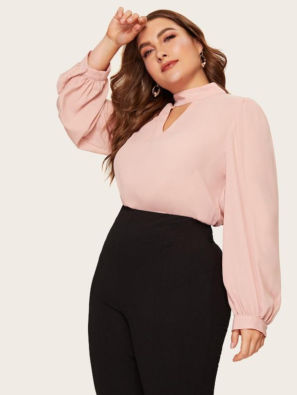 Plus Size Choker Neck Lantern Sleeve Top