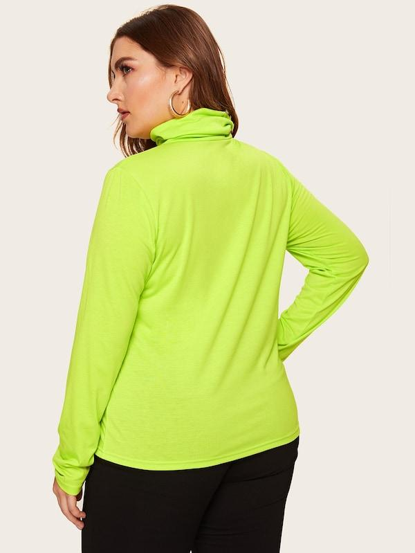 Plus Size Turtle Neck Neon Top